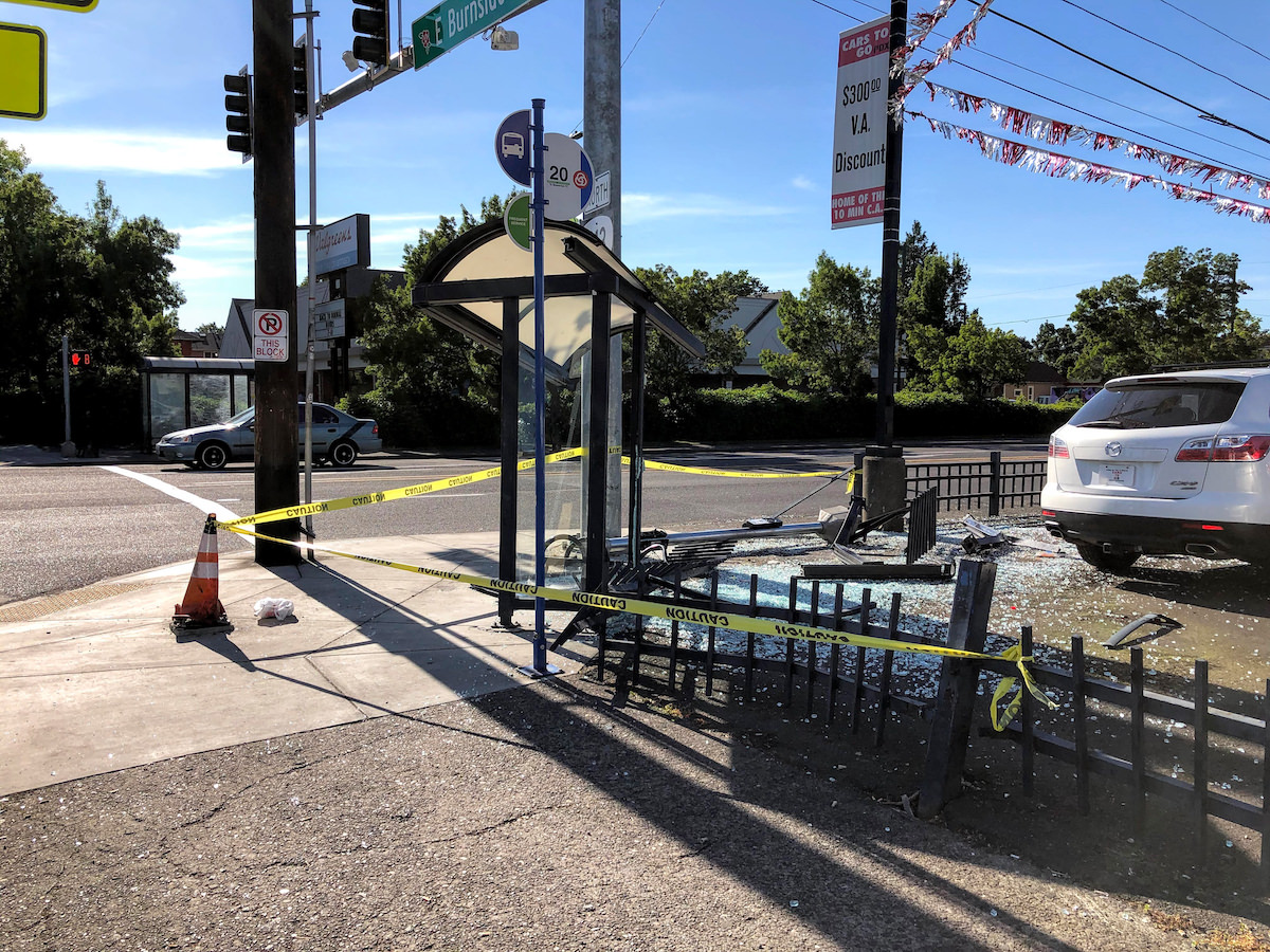 Bus Stop Destroyed in Crash