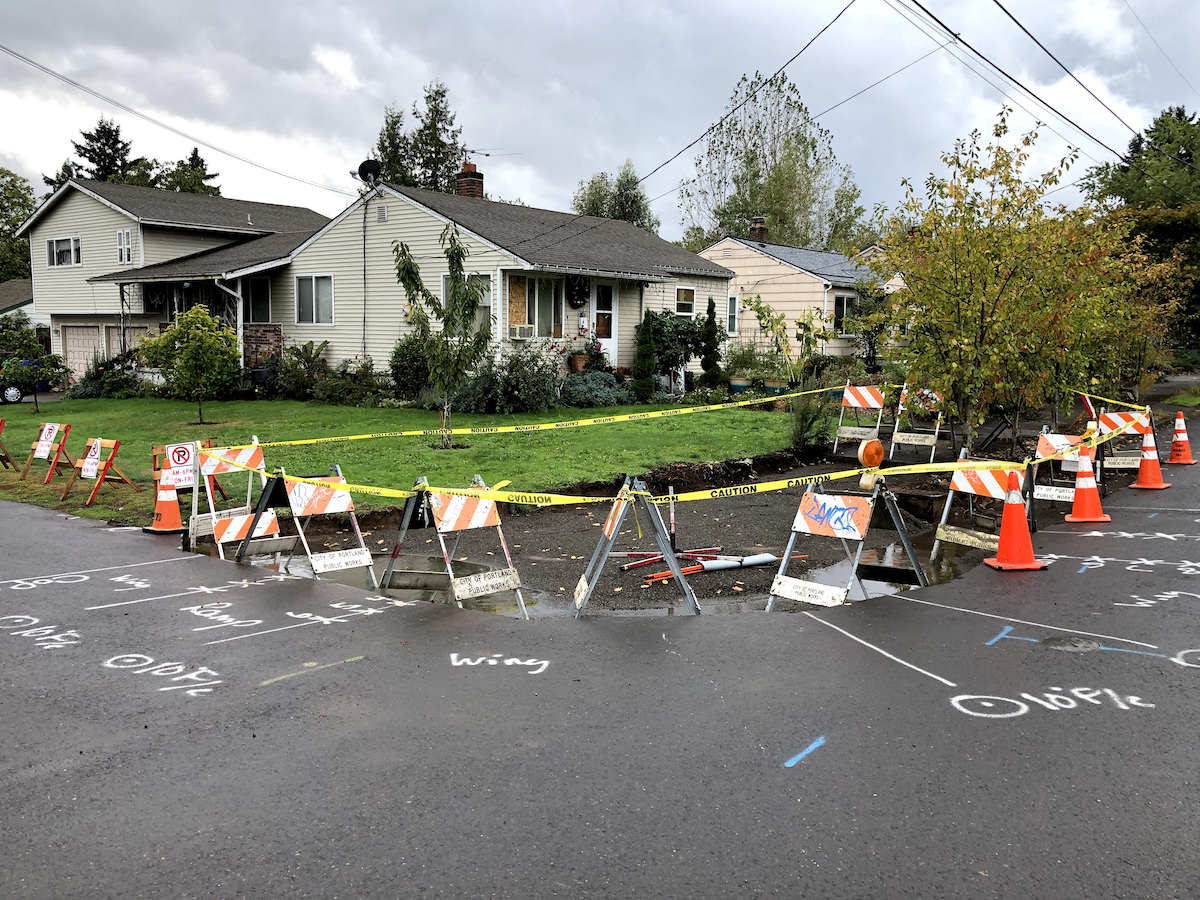 Curb Ramp Work at SE 91st and Burnside